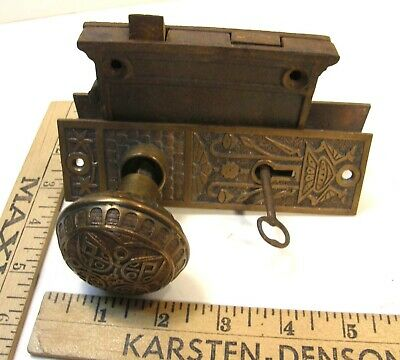 Antique Brass Eastlake Victorian Door Hardware Knobs Escutcheons Lock & Key