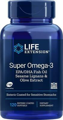 LIFE EXTENSION Super Omega-3 EPA/DHA 120 Softgels FREE WORLDWIDE SHIPPING