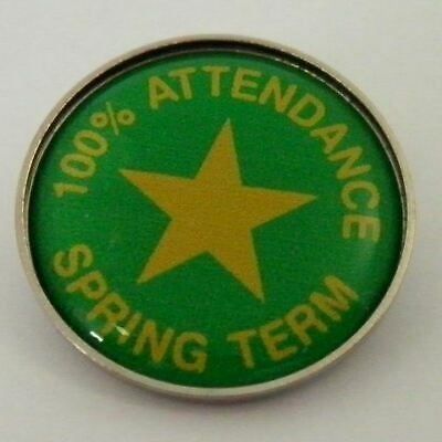 100/% Attendance Award Metal Pin Badge with Brooch Fitting