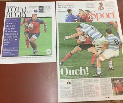 The Telegraph Newspaper Sport Featuring World Cup Rugby England V Argentina.