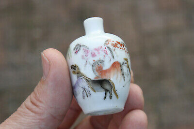 Antique Chinese 19th Century Yongzheng Mark Famille Rose Snuff Bottle Horses