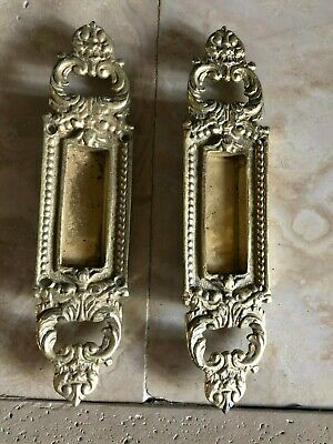 2 Ornate Antique Pocket Door Cabinet Handle Pull Sherle Wagner Phlyrich Guerin