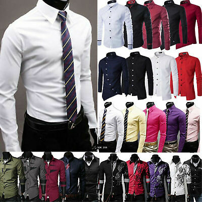 Luxury Mens Dress Shirt Long Sleeve Slim Fit Formal Business Wedding Shirts XXL