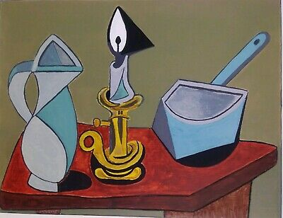 After Picasso Oil On Board Painting of a Jug and Candle Unsigned.