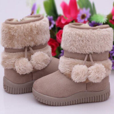 Winter New Toddler Girls Kids Fashion Ankle Boots Fur Lined Warm Snow Shoes WXJ