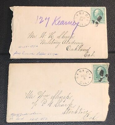 PAIR 1882 LETTERS w COVERS YOUNG LADIES' SEMINARY BENICIA CA