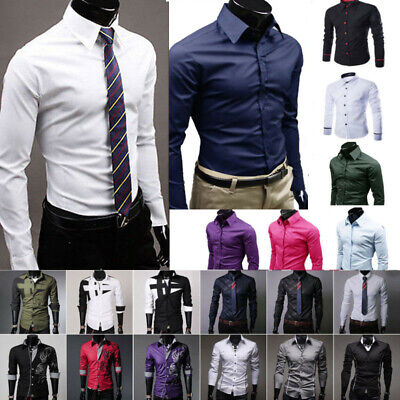 Luxury Dress Shirts Mens Casual Formal Shirt Slim Fit Work Party Business Top