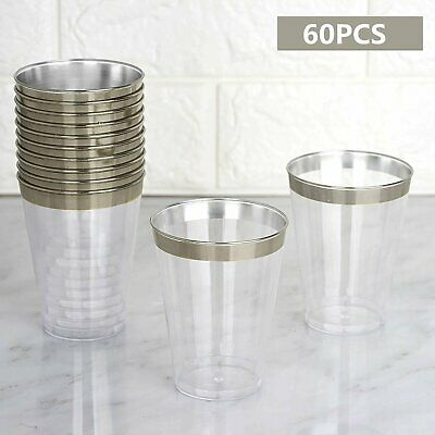 60 Packs Plastic Cups Disposable Party Glasses GOLD Clear Tumbler Wedding Party