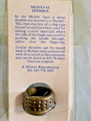 Vintage Medieval Thimble New In Box