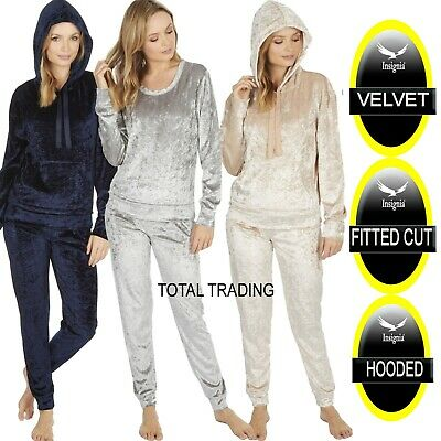 Ladies Womens PYJAMAS CRUSHED VELVET LOUNGE WEAR HOODED - NON HOOD