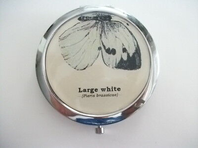 Gift Republic Large White Butterfly Compact Mirror Round Double Sided Folding !