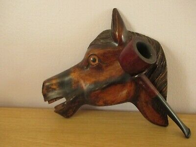 Antique Black Forest Horse Head Wall Hanging Pipe Rack Swiss Wood Carving