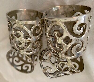 4 Pc Pierced Medieval Scrolled Sterling Silver Napkin Rings ~ 6.2 OZ