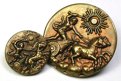 """BB Antique Brass Button Set of Mom/Daughter Apollo Driving his Horses 9/16 & 1"""""""