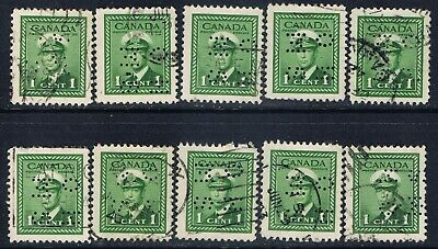 Canada #O249(1) PERFIN 1 cent green GEORGE VI OFFICIAL O.H.M.S. 10 Used