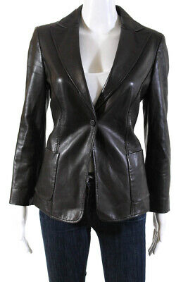 Giorgio Armani Womens Leather Single Button Jacket Dark Brown Size 38