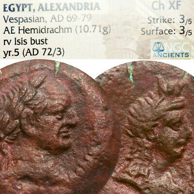 VESPASIAN, ISIS NGC Certified Choice XF Alexandria LARGE 27mm Ancient Roman Coin