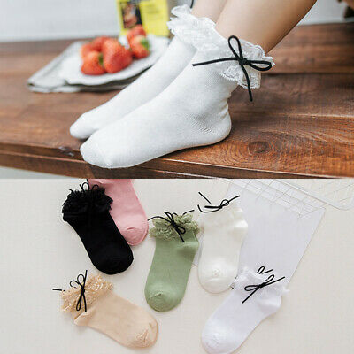 Women Girls Ankle Fancy Retro Bow Lace Ruffle frilly Princess School Short Socks