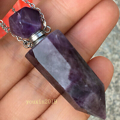 Natural amethyst Quartz Crystal Perfume Bottle Necklace Pendant healing 1pc