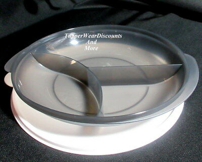 Tupperware NEW Black Divided Lunch Dish Reheatable Microwave White Seal Lid