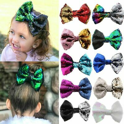 Children Floral Cute Rainbow Baby Bow Hairpin Mermaid Flipper Sequins Hair Clip