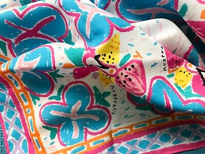 VINTAGE RETRO 80s KEN DONE STYLE SCARF AUSTRALIS Colourful tropical print