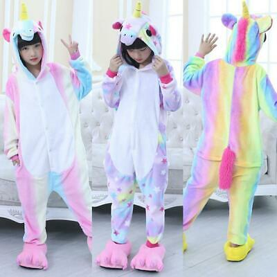 Kigurumi Animal Kids Pajamas Cosplay Costume Unicorn Sleepwear Rainbow Pyjama
