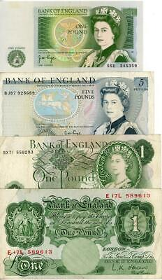 4 x 1970's Bank of England Banknotes 3 x £1and 1 x £5