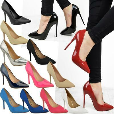 Womens Ladies Red Patent High Heel Stilettos Court Shoes Party Sexy Clubbing UK