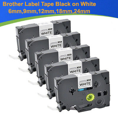 Compatible Label Tape 6mm 9mm 12mm 18mm 24mm Black on White P-touch Label Maker