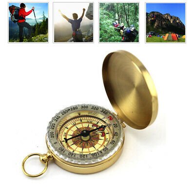 Retro Brass Noctilucent Pocket Compass Hiking Camping Watch Style Adventure Gift