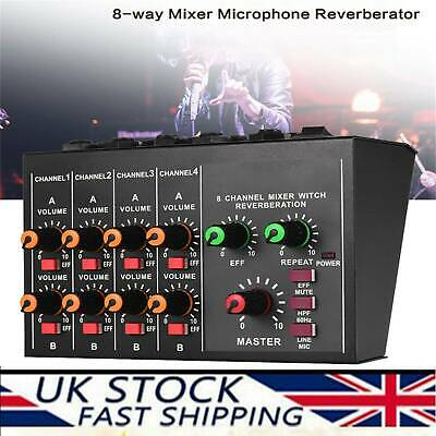 Compact 8-channel Mono/Stereo Audio Sound Mixer Reverberation Effect Function