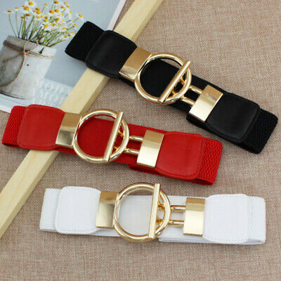 Women Fashion Gold Wide Narrow Stretch Elastic Waist Dress Belt Party Gift