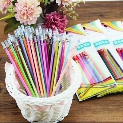 48Colors Gel Ink Pen Refills Glitter Drawing Stationery Office Supplies P0Q9