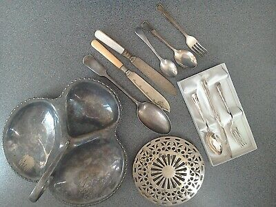 Small Assortment Of Epns & Silver Plate - Cutlery + Dish+ Trivet