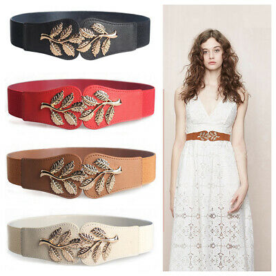 Womens Belt Gold Metallic Leaf Buckle Elastic Stretch Leather Skinny Waist Dress