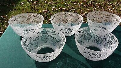"""Antique Victorian Etched Glass Gas Lamp Shades 5 MATCHING 4"""" Fitter"""