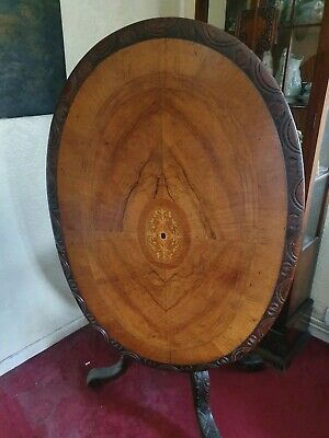 Victorian Burr Walnut And Mahogany Tilt Top Table