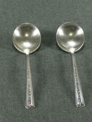 2 Towle Rambler Rose   Sterling Silver Round Cream Soup Spoons 6 3/8 No Monogram