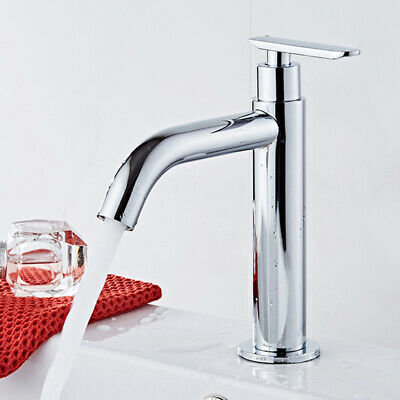 Chrome Bathroom Sink Faucet Basin Single Hole Single Lever Cold Water Mixer Tap