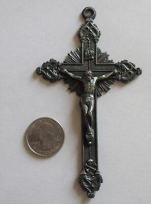 Big Large Antique Ornate Cross Crucifix Skull & Crossbones Silver Plated