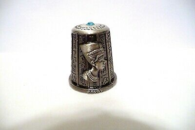 Thimble Pewter Egypt Queen Nefertiti & King Tut  W/Blue Crystal