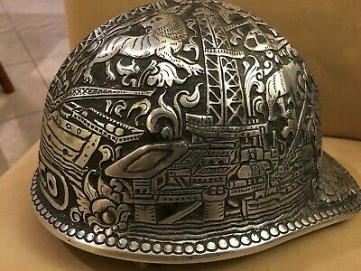 ENGRAVED TOOLED B.F. MCDONALD OIL HARD HAT Yogya Silver Co Kotagede Collectible
