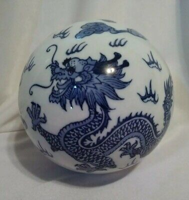 """Large Vintage Blue And White Chinese Dragon Motif Porcelain Sphere ~ 4.5"""""""