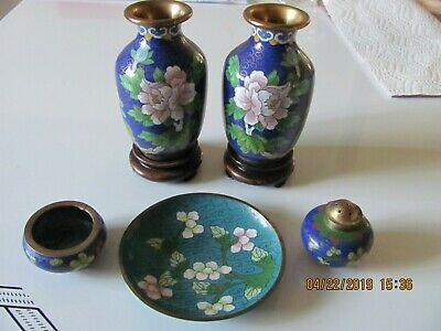 Antique Small Collection Of Small Cloisonne Items