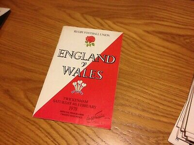 International Rugby Union Football Programme England V Wales 4/2/78