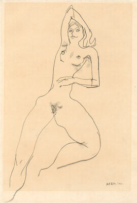 Peter Collins ARCA - Signed Expressionist 1970 Graphite Drawing, Reclining nude
