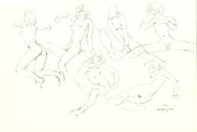 Peter Collins ARCA - Signed 1988 Graphite Drawing, Six Nude Studies