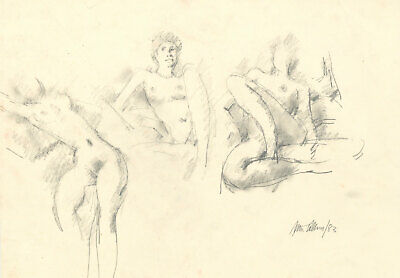 Peter Collins ARCA - Signed 1983 Graphite Drawing, Three Nude Studies