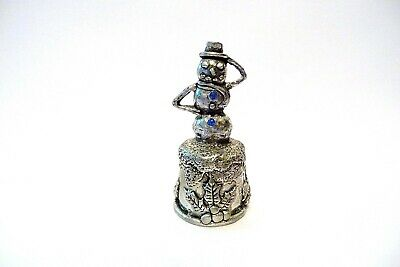 Thimble Pewter Comstock '00 Topper Of A Snowman W/Blue Crystals & Holly On Base